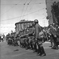 La polizia schierata in occasione del raduno dell'Msi a Modena, maggio 1961 [ISMO, AFPCMO]