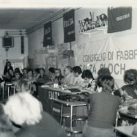 Consiglio di fabbrica del Calzificio Bloch durante la vertenza per la sua chiusura, 1978