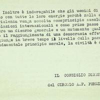 Appello alla pace a cura della direzione del circolo, 1961 [ISMO, APCMO]