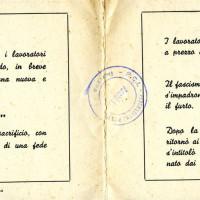 Cartolina inaugurazione Casa del Popolo di Santerno, 1954
