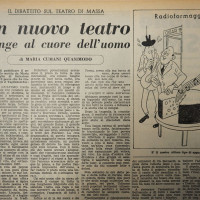 Un nuovo teatro giunge al cuore dell'uomo, dibattito sul teatro di Massa  [La Verità, 8 novembre 1952]