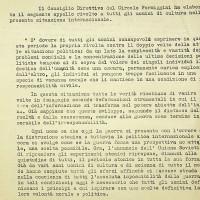 Estratto di un appello agli uomini di cultura dalla direzione del circolo, contro le armi atomiche, 1961 [ISMO, APCMO]