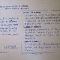Archivio PCI Forlì, presso ISTORECO FC, Serie Carteggio e documentazione, b. 4, Fasc. 1- locandina promozionale di un ciclo di conferenze filosofiche organizzate dal Circolo di cultura, 10 marzo 1964