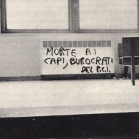 Una scritta minacciosa contro il PCI all'Università di Bologna