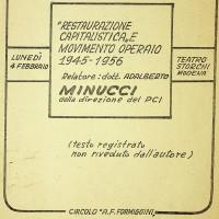 Evento di stampo politico, a cura del circolo, presso il teatro Storchi, 1959
