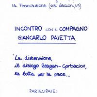 11 luglio 1986. Rimini, INA Casa. Volantino che annuncia l'incontro con l'on. Giancarlo Pajetta