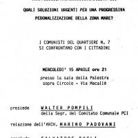15 aprile 1987. Torre Pedrera, Casa del Popolo. Avviso di convocazione di un'assemblea pubblica promossa dalle Sezioni del PCI del Quartiere 7 sui problemi del territorio