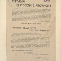 Volantino della federazione modenese del Partito comunista italiano del 25 ottobre 1944 contro la collaborazione con i nazisti  [ISMO, Cronaca Pedrazzi]
