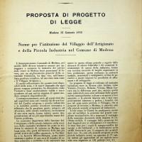 Proposta di legge per la costruzione del villaggio artigiano di Modena Ovest [ISMO, AFPCMO]