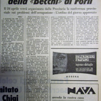 L'Unità Emilia Romagna, 18 aprile 1971, p. 11- articolo su una assemblea fra operai della Becchi e rappresentanti dei Partiti e delle istituzioni forlivesi, 17 aprile 1971