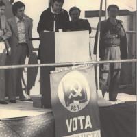 Fine maggio 1975. Morciano di Romagna. Manifestazione per l'inaugurazione della nuova sede del Comitato di Zona Valconca del PCI  con l'on. Armando Cossutta. Da sin. il Segretario della Federazione Riminese Giorgio Alessi, Walter Moretti, il Segretario del Comitato di Zona Franco  Mazzocchi, Nando Piccari, l'on. Armando Cossutta