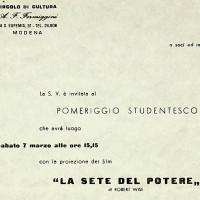 """Proiezione di un film per il """"pomeriggio studentesco"""" al Circolo Formiggini, 1959 [ISMO, APCMO]"""