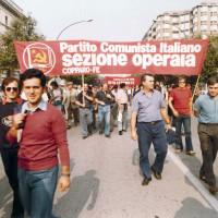 Copparo. Gruppo della sezione operaio del PCI di Copparo a una manifestazione di protesta contro la politica della fabbrica Berco-Breda