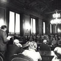La sala del Consiglio comunale a Palazzo D'Accursio