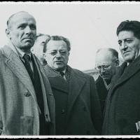 Alfeo Corassori, Palmiro Togliatti, Umberto Terracini e Giuseppe Di Vittorio ai funerali degli operai uccisi dalla polizia il 9 gennaio 1950 [ISMO, AFPCMO]