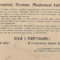 Volantino della Federazione comunista modenese che invita la popolazione ad aiutare i partigiani [ISMO, Cronaca Pedrazzi]