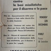 Archivio PCI Forlì, presso ISTORECO FC, Serie Commissione Stampa e propaganda, b. 1, Fasc.2- volantino che annuncia una manifestazione per il disarmo nuclare promossa dal Circolo studenti medi-universitari, 18 dicembre 1962