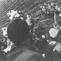 I bolognesi portano fiori sul muro dove sorgerà il sacrario