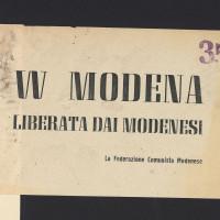 """Volantino della Federazione comunista modenese """"W Modena liberata dai modenesi"""" [ISMO, Cronaca Pedrazzi]"""