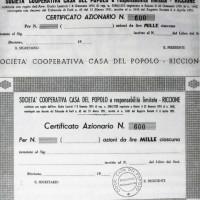 1952. Riccione. Certificato azionario della Società Cooperativa Casa del Popolo Riccione