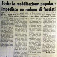 L'Unità, 29 aprile 1971, p. 2- articolo relativo agli scontri di piazza a Predappio e Forlì fra nostalgici e antifascisti del 28 aprile 1971