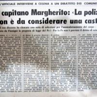 Il Resto del Carlino-Cesena, 9 gennaio 1977- articolo relativo ad una conferenza dell'onorevole Sergio Flamigni del Pci e del Capitano Margherito ufficiale delle Guardie di P.S. Sul tema della smilitarizzazione e sindacalizzazione della Polizia