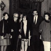 Il sindaco Renzo Imbeni e il presidente della Repubblica Pertini a Palazzo D'Accursio
