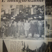 Dozza e altri dirigenti del PCI inaugurano la festa del 1954