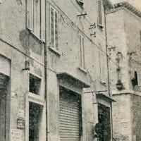 Anni '60. Rimini, Via Soardi. Il portone d'ingresso nello stabile dove era la sede della Federazione al secondo piano