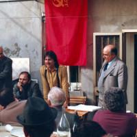 25 aprile 1983. Inaugurazione della sede della Sezione del PCI della Grotta Rossa. Da destra in piedi Silvano Lisi, il Segretario della Sezione Orazio Del Prete, seduto il Segretario della Federazione Comunista Riminese Nando Piccari