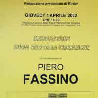 4 aprile 2002. L'invito alla inaugurazione della nuova sede della Federazione in Via Beltramelli 5 con la partecipazione di Piero Fassino