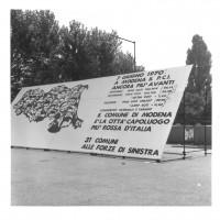1970, Festa dell'Unità provinciale di Modena: i pannelli sugli iscritti al PCI [ISMO, AFPCMO]