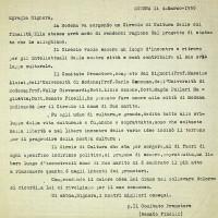 Lettera di Renato Finelli (Comitato Promotore del circolo) a Emilia Formiggini, per chiederle il consenso a intitolare il circolo al marito, ebreo morto suicida, lanciatosi dalla Ghirlandina come segno di protesta contro il regime fascista [ISMO, APCMO]