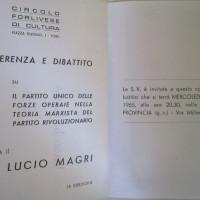 Archivio PCI Forlì, presso ISTORECO FC, Serie Carteggio e documentazione, b. 4, Fasc. 1- locandina promozionale di un conferenza promossa dal Circolo di cultura con la presenza di Lucio Magri, aprile 1965