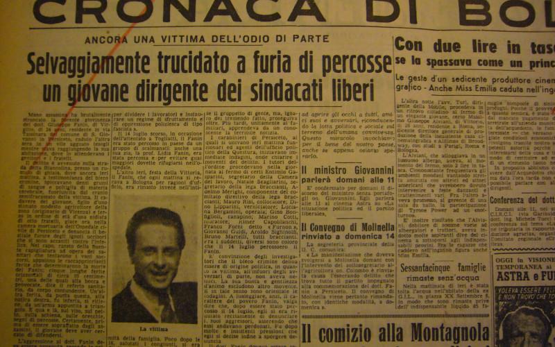Teatro Comunale di San Giovanni in Persiceto, Corso Italia 72- Comizio di Pajetta dopo l'omicidio Fanin